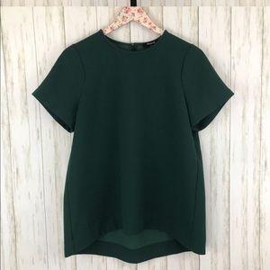 Madewell hunter green short sleeve blouse shirt XS